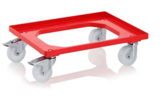 Red Crate Skate with 100mm Nylon Wheels / ZP Castors