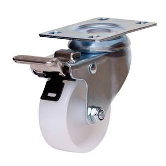 Swivel Brake Castor with 75mm Nylon Wheel