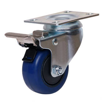Swivel Brake Castor with 75mm Rebound Rubber Wheel