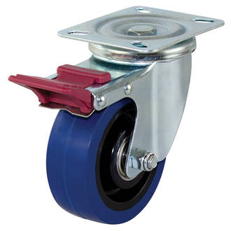 Swivel Brake Castor with 100mm Rebound Rubber Wheel