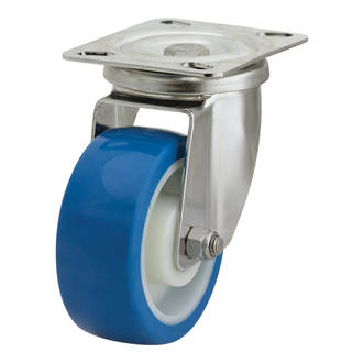 Swivel SS Castor with 100mm Rebound Polyurethane Wheel