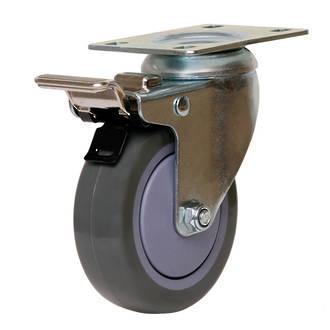 Swivel Brake Castor with 100mm Polyurethane Wheel